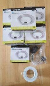10 x Aurora GU10 white aluminium ring downlight