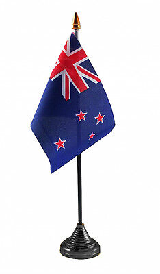 """NEW ZEALAND TABLE FLAG 6"""" X 4"""" with pole & base Polyester cloth Auckland flags"""