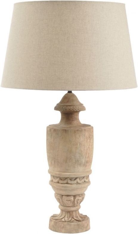 BRAND NEW Hand Carved Mango Wood Table Lamp In Natural Finish RRP£350.00 LIBRA,COM