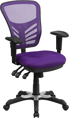 Flash Furniture Mid-back Purple Mesh Swivel Task Chair With Triple Paddle...