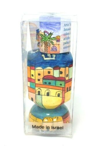 NEW Jerusalem Hanukkah Dreidel with Stand Chanukah Hand Painted Made in Israel