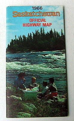 1966 SASKATCHEWAN CANADA OFFICIAL HIGHWAY ROAD TRAVEL MAP DEPT TRANSPORTATION