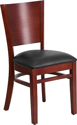 Solid Back Mahogany Wood Finish Restaurant Chair With Black Vinyl Seat