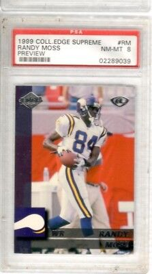 1999 Randy Moss Collectors Edge (RANDY MOSS 1999 Collectors Edge Supreme Preview PSA 8 MN-MT PATRIOTS VIKINGS #RM )