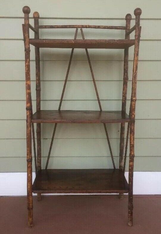 GORGEOUS ANTIQUE Bamboo 3 Tier Stand w BURNT DECORATION / PYROGRAPHY & SIGNED