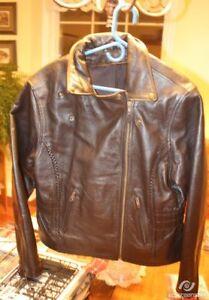New Black Leather Bomber-Style Jacket - Ladies L