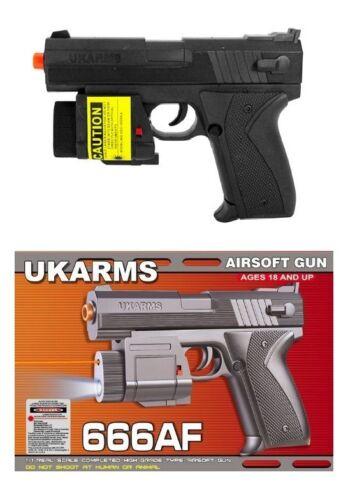 "6.5"" Spring Black Airsoft Pistol Gun w/ Laser Sight 125fps BB Air Soft 666af 1/1"