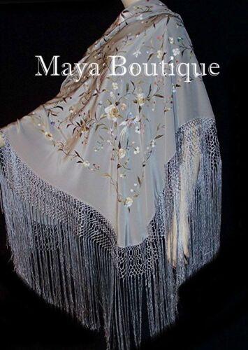 """Flamenco Embroidered Silk Piano Shawl Wrap Silver Multi Flower & Birds 84"""" Maya"""