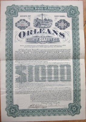 1906 Mining $1000 Gold Bond Certificate: 'Orleans County Quarry Co.' - New York