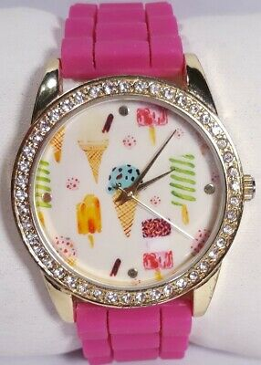 Women Claires Ice Cream Watch Pink Silicone Band Gold Case Crystal Acc New