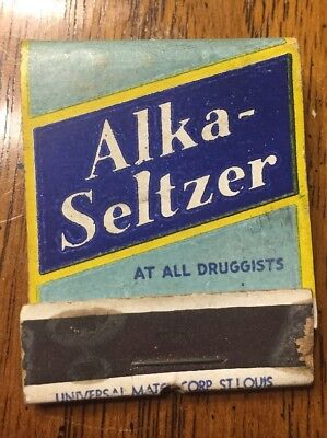 Vintage 1940s Alka-Seltzer Book Of Matches Unused Almost Full