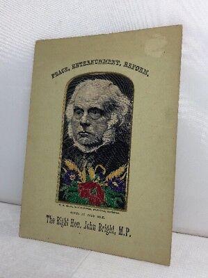 Antique WH Grant Stevengraph Woven Silk Picture The Right Hon. John Bright MP