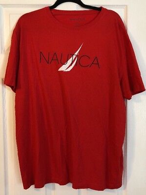 Nautica Mens Graphic Tee Shirt Top Short Sleeve Crew Neck Size XL Red   A23