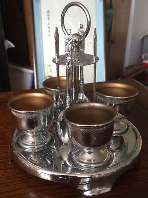Chrome Plated Vintage Egg Cups And Spoons On Stand