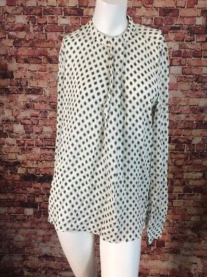 Zara Woman Ivory Green Floral One Pleat Top Blouse Shirt Size S