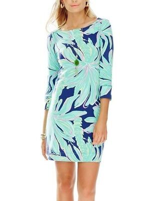 Lilly Pulitzer Sophie Dress Tiger Palm Bright Navy Upf 50+ Women Size L New