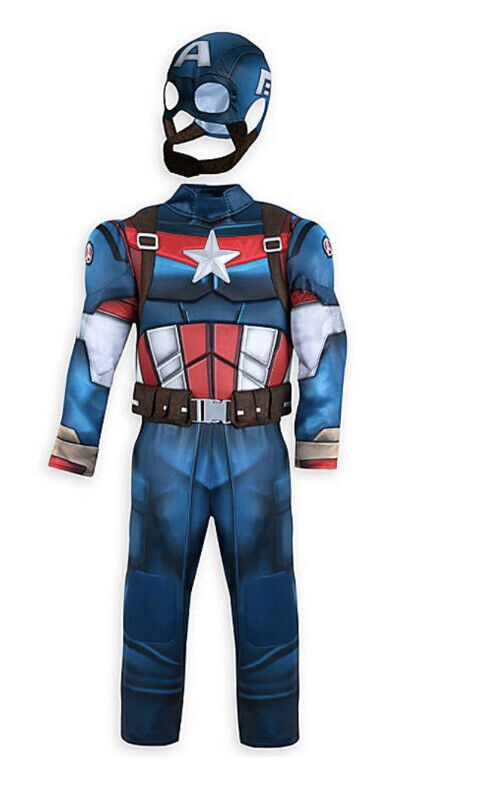 Disney Store Captain America Boys Halloween Costume With Sound Size 5/6 NEW