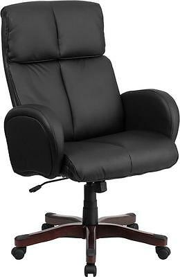 Conference Table High Back Black Leather Exec Chair With Fully Upholstered Arms