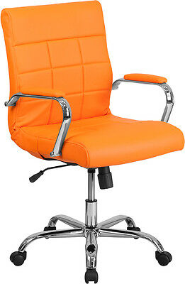 Mid-back Orange Vinyl Conference Room Swivel Chair With Chrome Arms