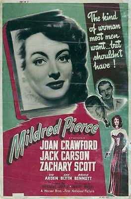 MILDRED PIERCE Movie POSTER 27x40 F Joan Crawford Jack Carson Zachary Scott Eve