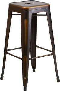 100 - RESTAURANT TOLIX STYLE WOOD SEAT BAR STOOL DINING CHAIR
