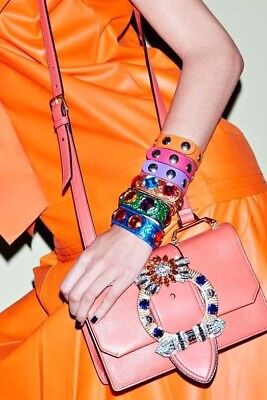 MIU MIU RESORT 2017 Purple Calfskin Leather Studded Bracelet NIB