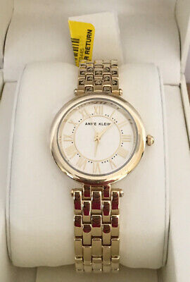 Anne Klein Roman Numeral Gold Dial Ladies Watch 2984GYGB