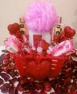 Mother's Day Birthday Gift Basket Pink Spa Bath Body Foot Lotion Soap Chocolates