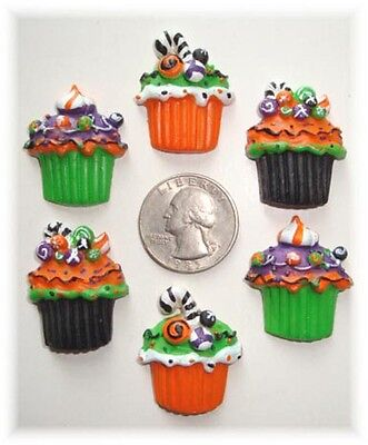 6PC HALLOWEEN CUPCAKE CANDY FLATBACK FLAT BACK - Halloween Back