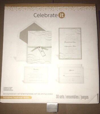 CELEBRATE IT WEDDING INVITATION KIT SET OF 30 SILVER NEW IN BOX