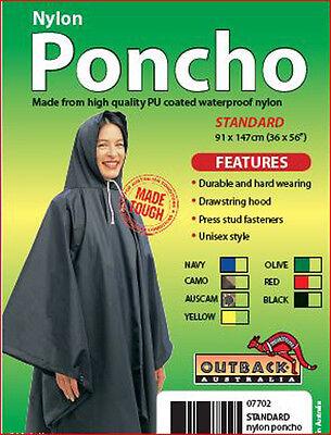 Outback Waterproof Rain Poncho Heavy Duty PU Coated Nylon BL