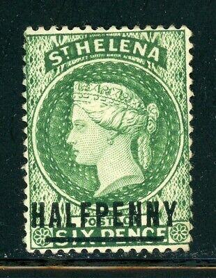 St. Helena Scott #33 HR HALF PENNY on Queen Victoria 6p grn CV$12+