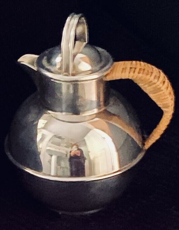 "Antique EGWS (E G WEBSTER & SON) Art Deco-Beautiful 6"" Silver Teapot 1920"