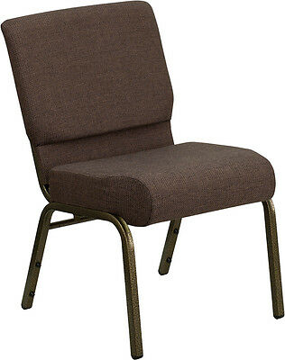 Flash Furniture Hercules Series 21 Extra Wide Brown Fabric Stacking Church...