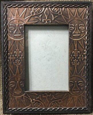 Bronze Metal Tin Sun Sunshine Face Nature Frame Picture Photo 3.5x 5 #BX33
