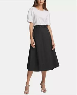 Dkny  Womens Black Pull On w Zipper-Pocket Midi Skirt $79 Sz 8 TINI {&}