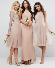 BRAND NEW (NEVER WORN) Maya High Neck Tulle dress with delicate tonal sequins