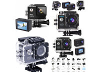 HD GoPro Style Action Camera 1080p Sports Waterproof 30M Depth + Accessories Pack Bike Cycleing Car