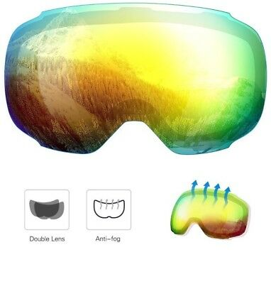 376ab94d028e Enkeeo Snow Ski Goggle Anti-Fog Dual Lens 3 Layers UV400 Snowboarding LENS  ONLY