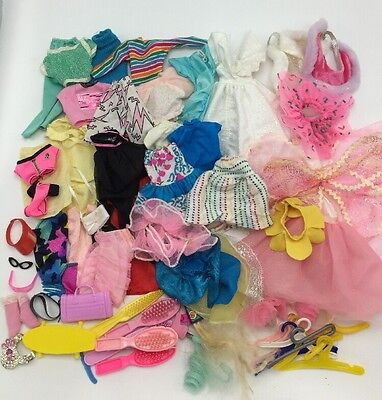 BIG LOT of 65 Vintage 1980's/1990's Barbie Doll Clothing and Accessories