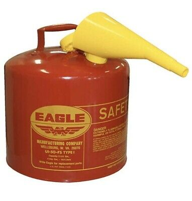 Eagle 5-gallon Metal Gasoline Can Red Gas Fuel Tank Steel New Pour Spout Funnel