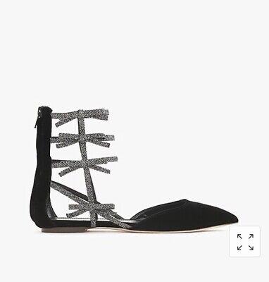 J Crew Velvet Bow Gladiator Flats Shoes black glitter E4669 Size 5.5 new