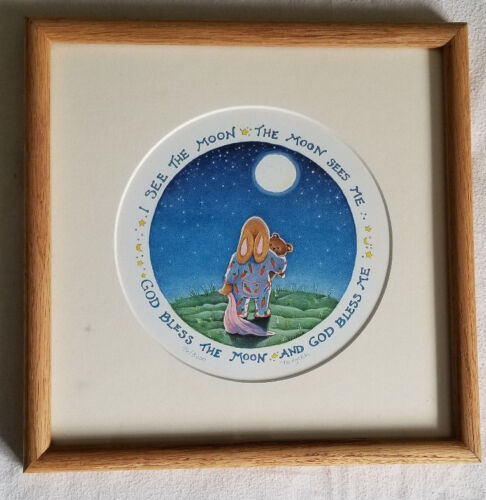 """11"""" Laura Trayser Watercolor Framed I SEE THE MOON Nursery Room Print Picture LE"""