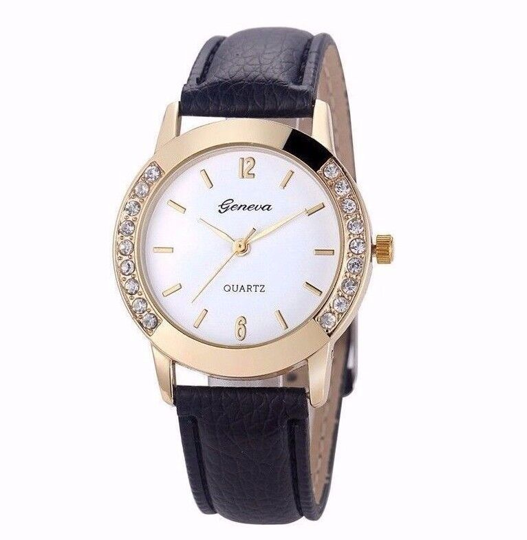 $38.99 -  Luxury Diamond Gold Stainless Black Leather Women Quartz Watch Dress Fashion