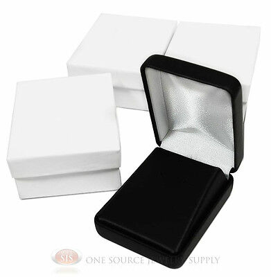 3 Piece Earring Pendant Black Leather Jewelry Gift Boxes 2 14w X 3d X 1 14h