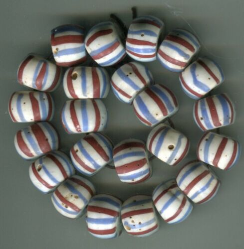 African Trade beads vintage Venetian old glass nice white striped wound beads