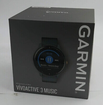 Garmin Vivoactive 3 Music Granite With Rose Gold Hardware GPS Smartwatch - Blue
