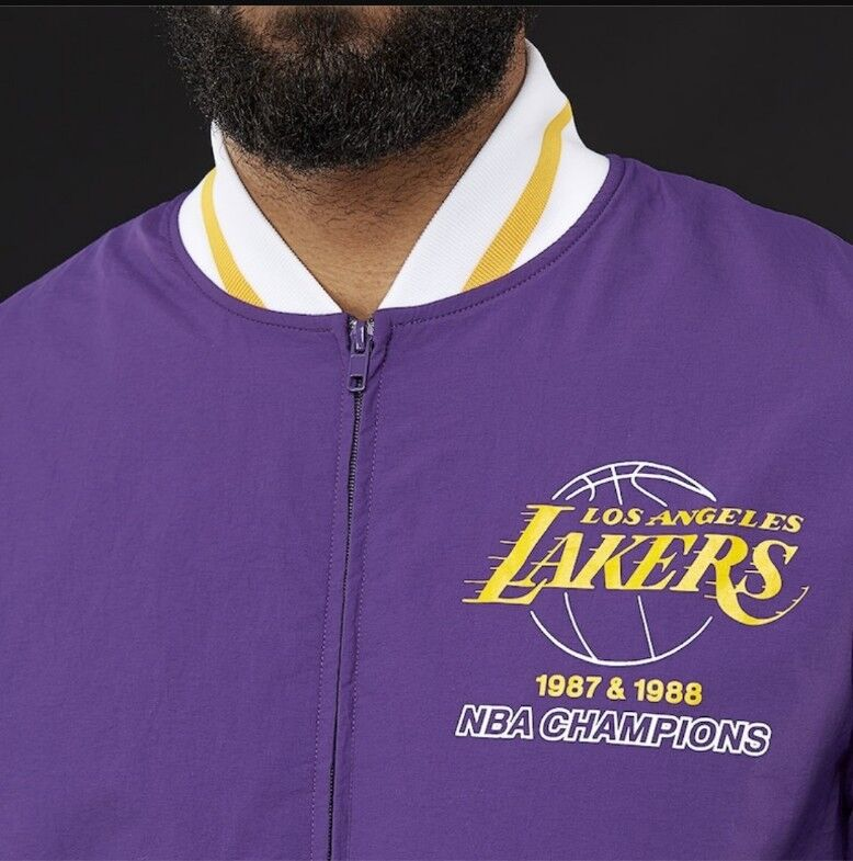 fb939358670 Los Angeles Lakers MITCHELL & NESS AUTHENTIC tEAM HISTORY WARM-UP JACKET-  Purple