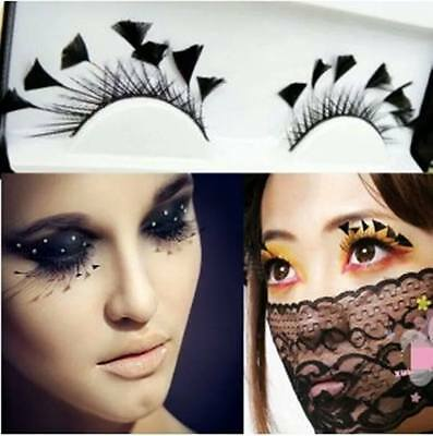 P2 Firework Hot Party Feather False Eyelashes Eye Lashes for Halloween dramatic - Dramatic Makeup For Halloween
