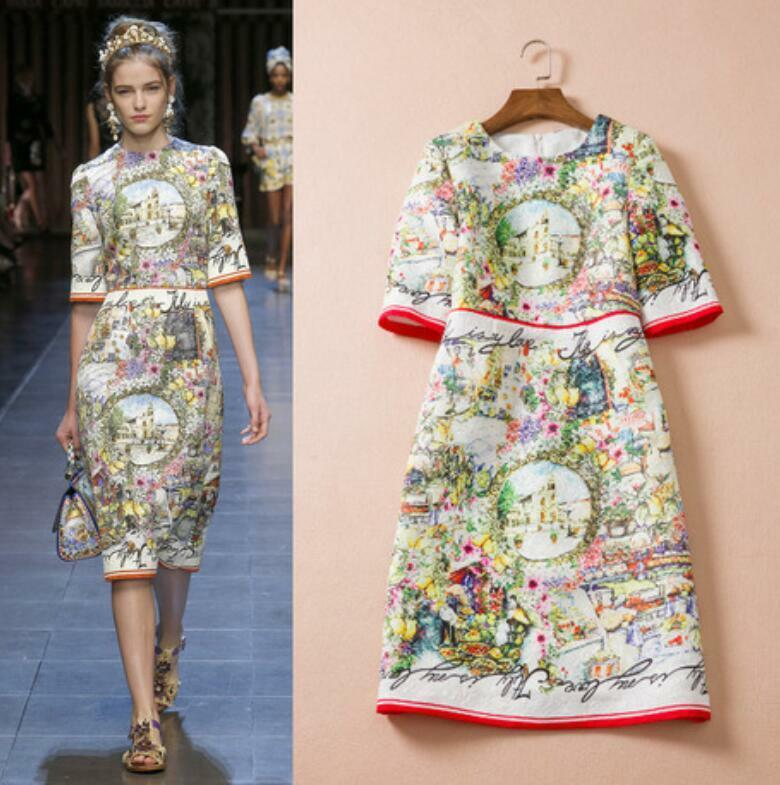 Купить Unbranded - Runway Floral Women's Slim Fit Retro Printed Round Collar Sexy Elegant Dress